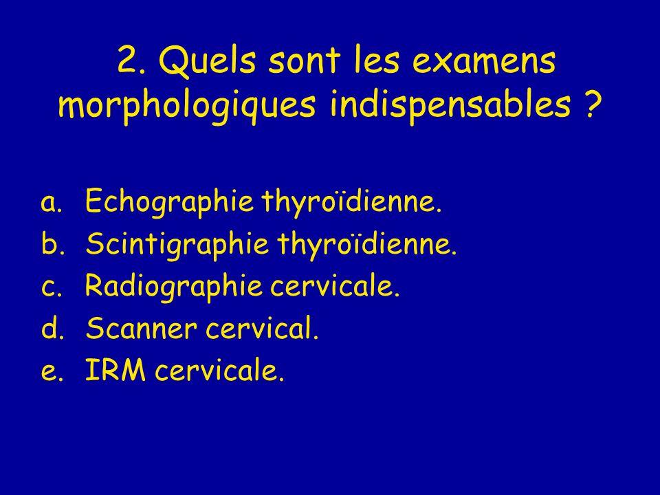 2. Quels sont les examens morphologiques indispensables