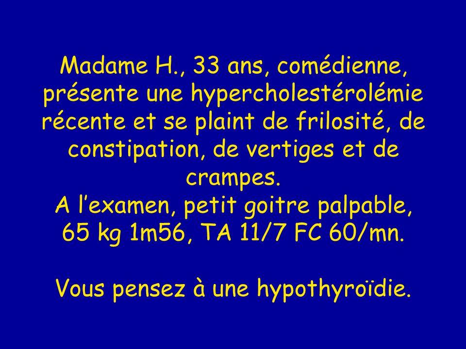 Madame H., 33 ans, comédienne, présente une hypercholestérolémie récente et se plaint de frilosité, de constipation, de vertiges et de crampes.