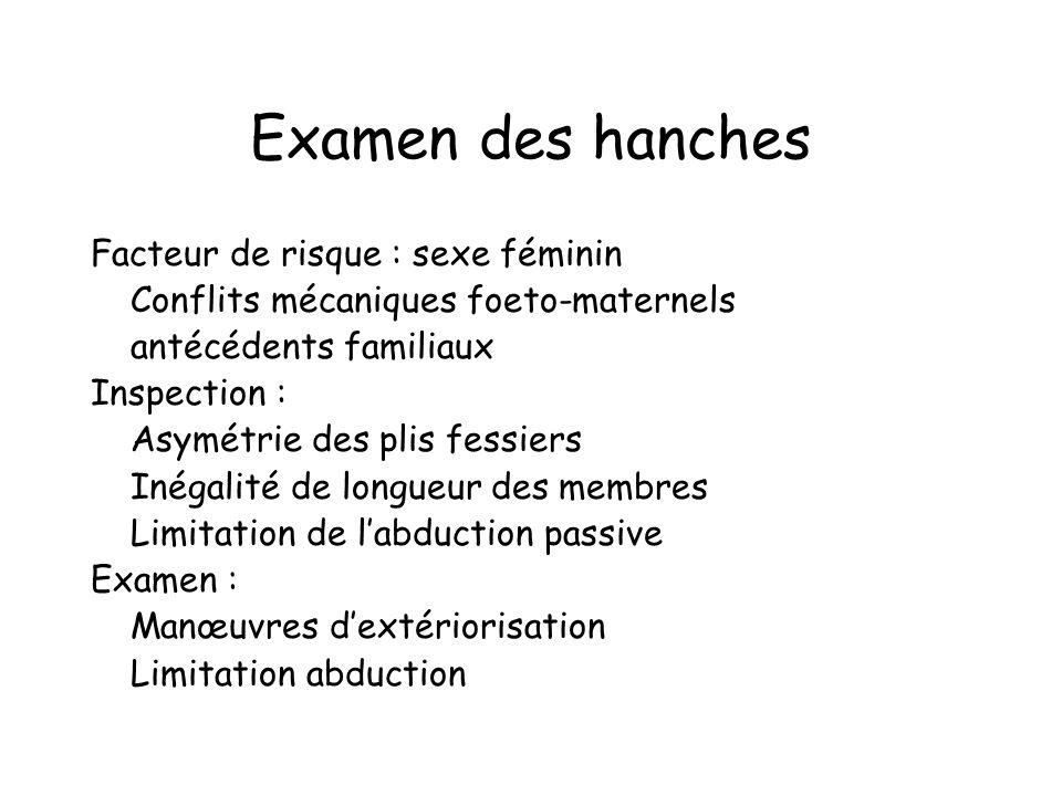Examen des hanches Facteur de risque : sexe féminin