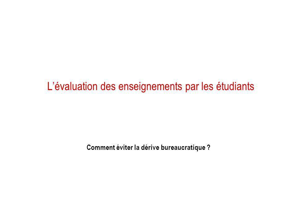 L'évaluation des enseignements par les étudiants