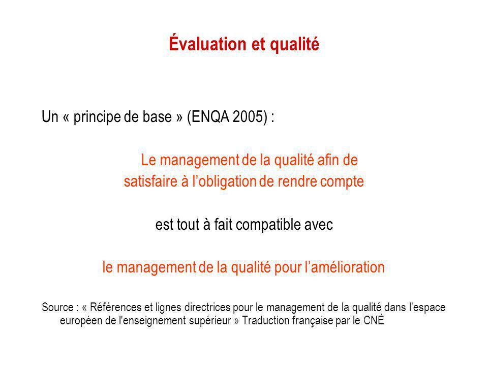 Évaluation et qualité Un « principe de base » (ENQA 2005) :