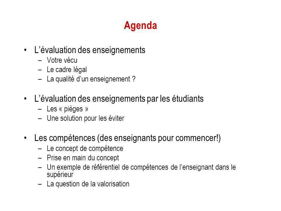 Agenda L'évaluation des enseignements