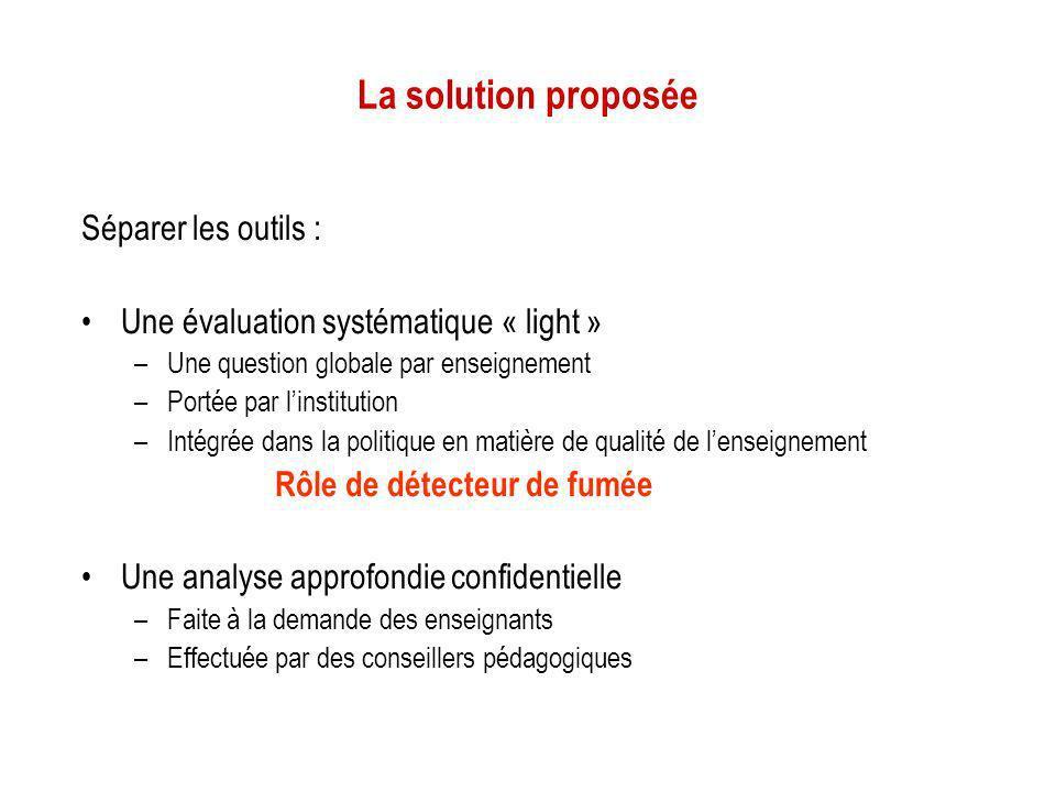 La solution proposée Séparer les outils :