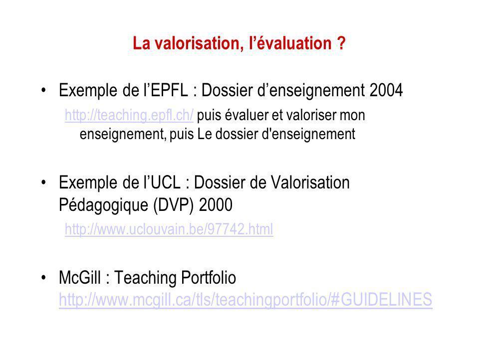 La valorisation, l'évaluation