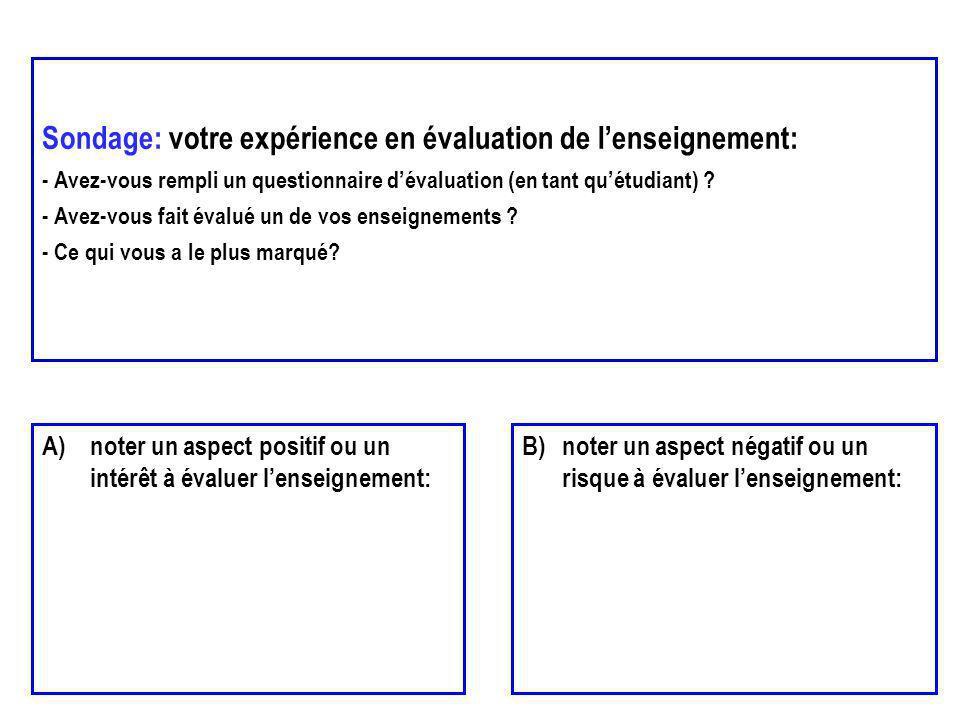Sondage: votre expérience en évaluation de l'enseignement: - Avez-vous rempli un questionnaire d'évaluation (en tant qu'étudiant) - Avez-vous fait évalué un de vos enseignements - Ce qui vous a le plus marqué