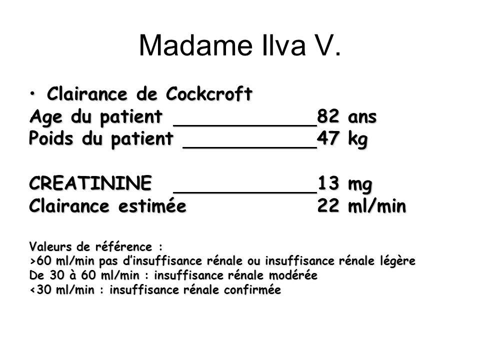 Madame Ilva V. Clairance de Cockcroft Age du patient 82 ans