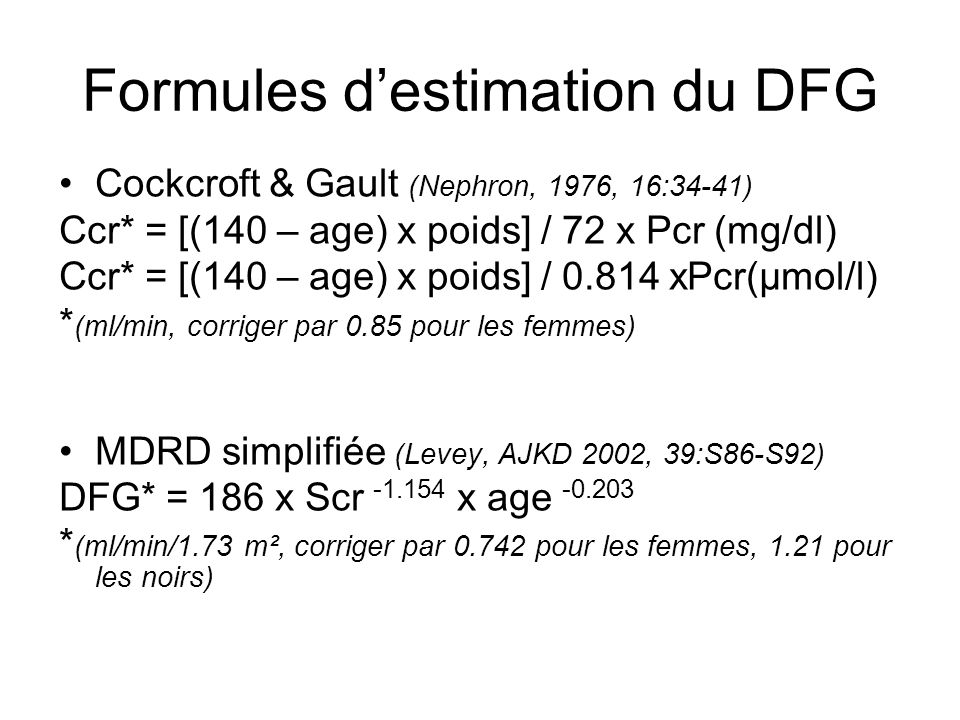 Formules d'estimation du DFG