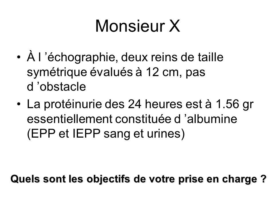Monsieur X À l 'échographie, deux reins de taille symétrique évalués à 12 cm, pas d 'obstacle.