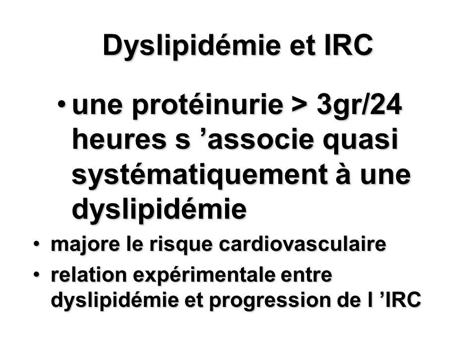 Dyslipidémie et IRC une protéinurie > 3gr/24 heures s 'associe quasi systématiquement à une dyslipidémie.