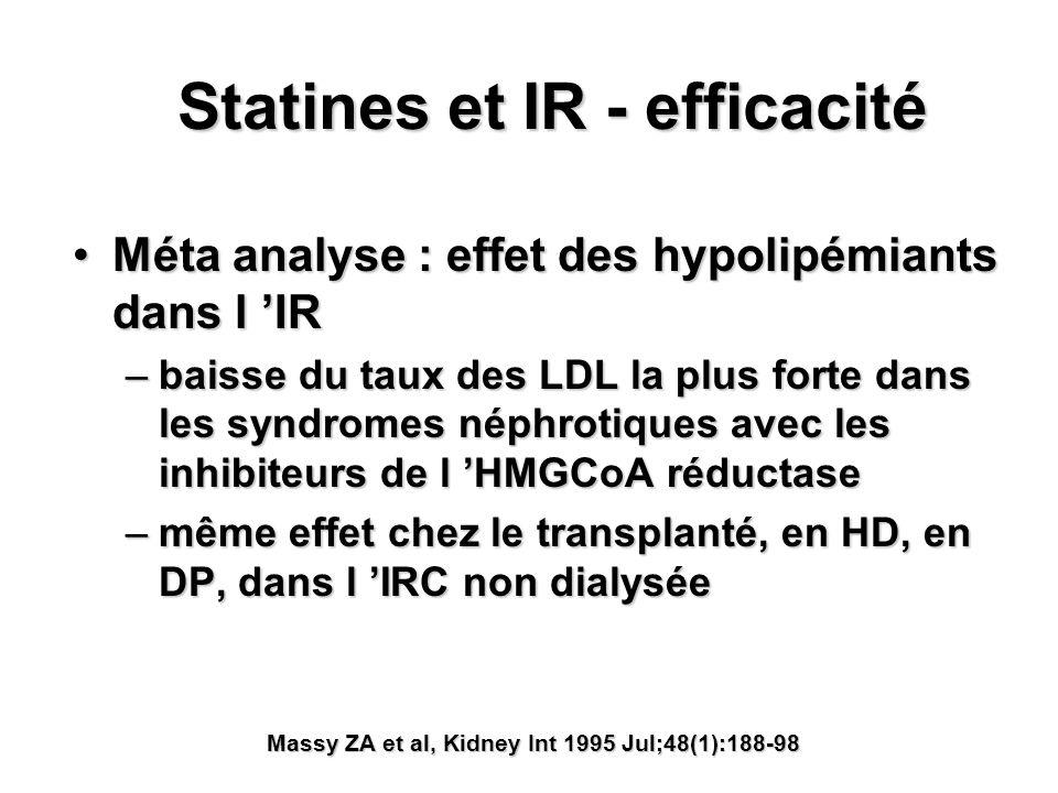 Statines et IR - efficacité