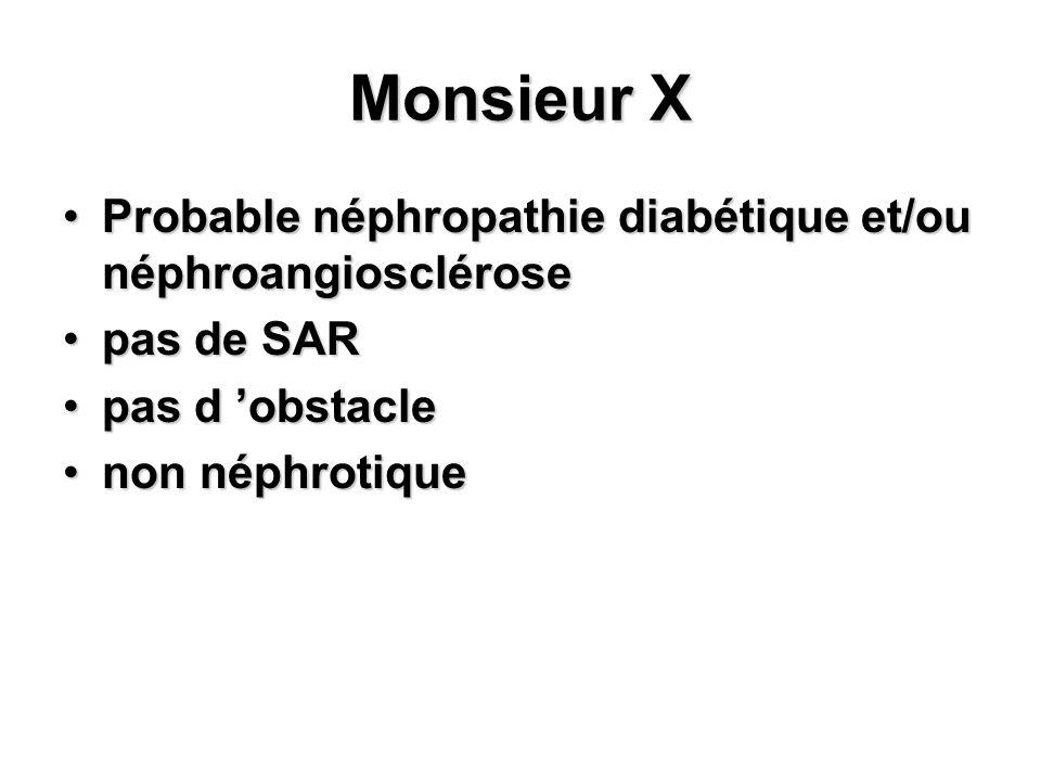 Monsieur X Probable néphropathie diabétique et/ou néphroangiosclérose