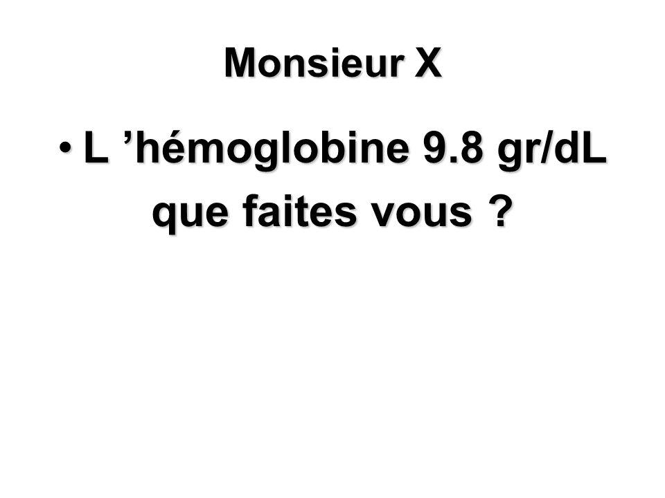 L 'hémoglobine 9.8 gr/dL que faites vous