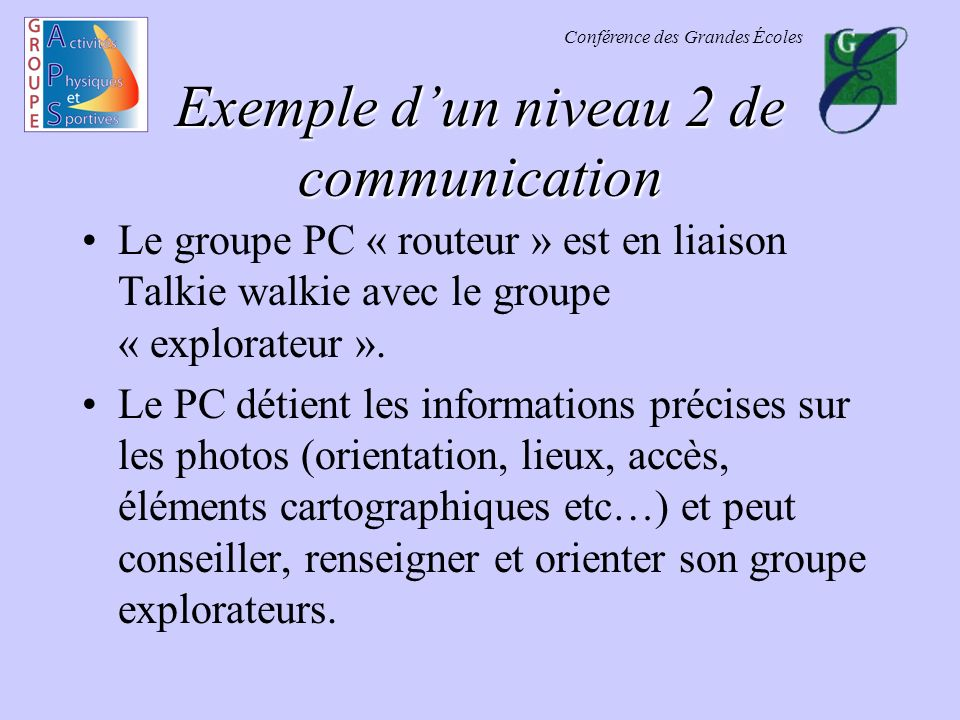 Exemple d'un niveau 2 de communication