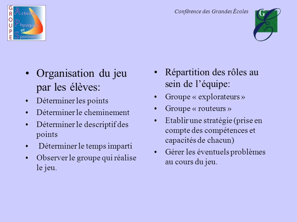 Organisation du jeu par les élèves: