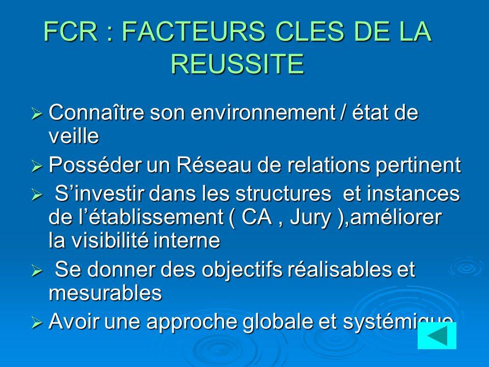 FCR : FACTEURS CLES DE LA REUSSITE