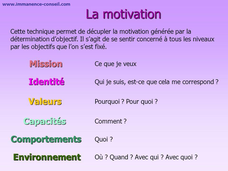 La motivation Mission Identité Valeurs Capacités Comportements