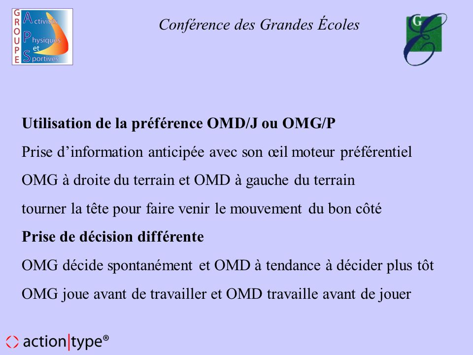Utilisation de la préférence OMD/J ou OMG/P