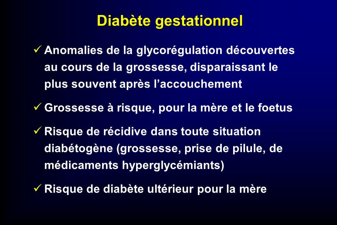 Diabète gestationnel Anomalies de la glycorégulation découvertes au cours de la grossesse, disparaissant le plus souvent après l'accouchement.