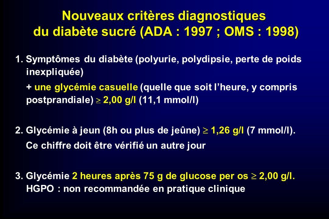 Nouveaux critères diagnostiques du diabète sucré (ADA : 1997 ; OMS : 1998)