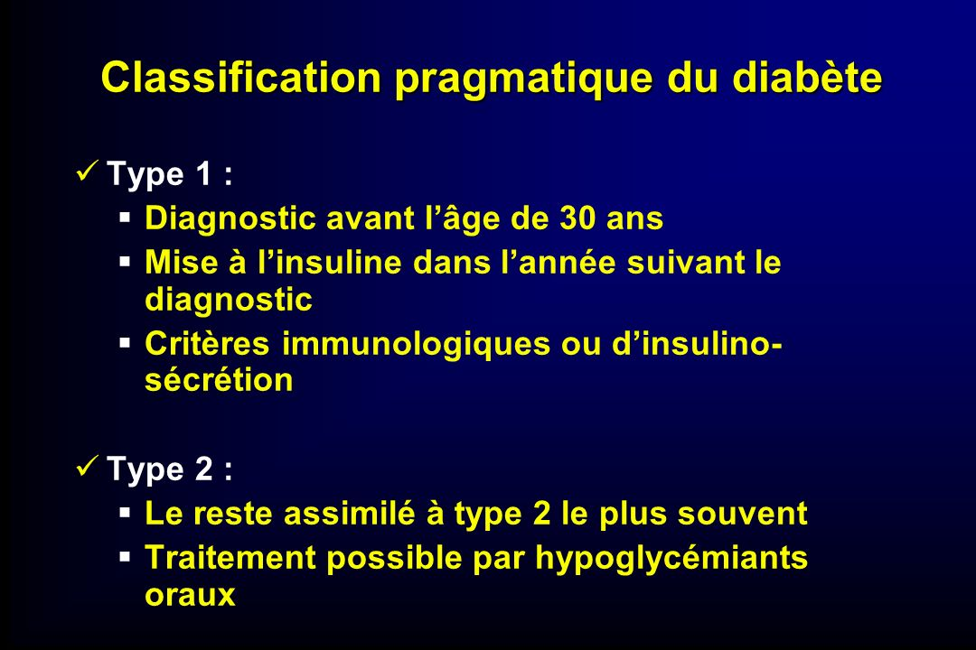 Classification pragmatique du diabète