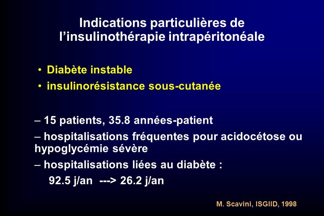 Indications particulières de l'insulinothérapie intrapéritonéale