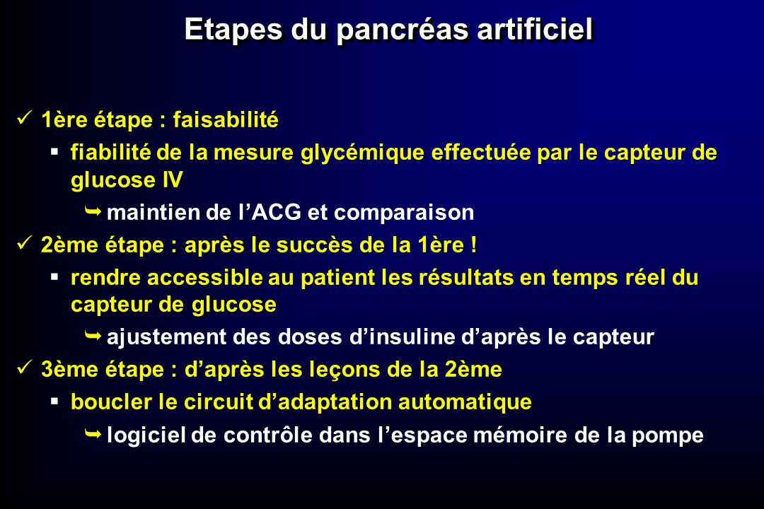 Etapes du pancréas artificiel