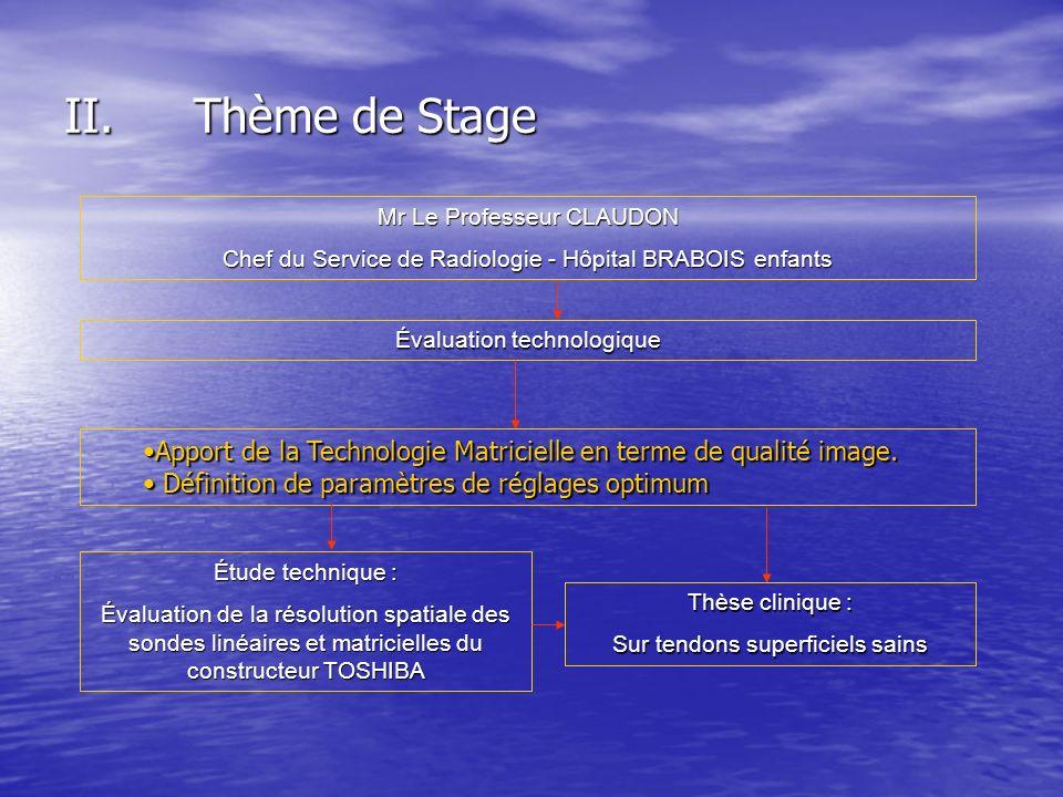 Thème de Stage Mr Le Professeur CLAUDON. Chef du Service de Radiologie - Hôpital BRABOIS enfants. Évaluation technologique.