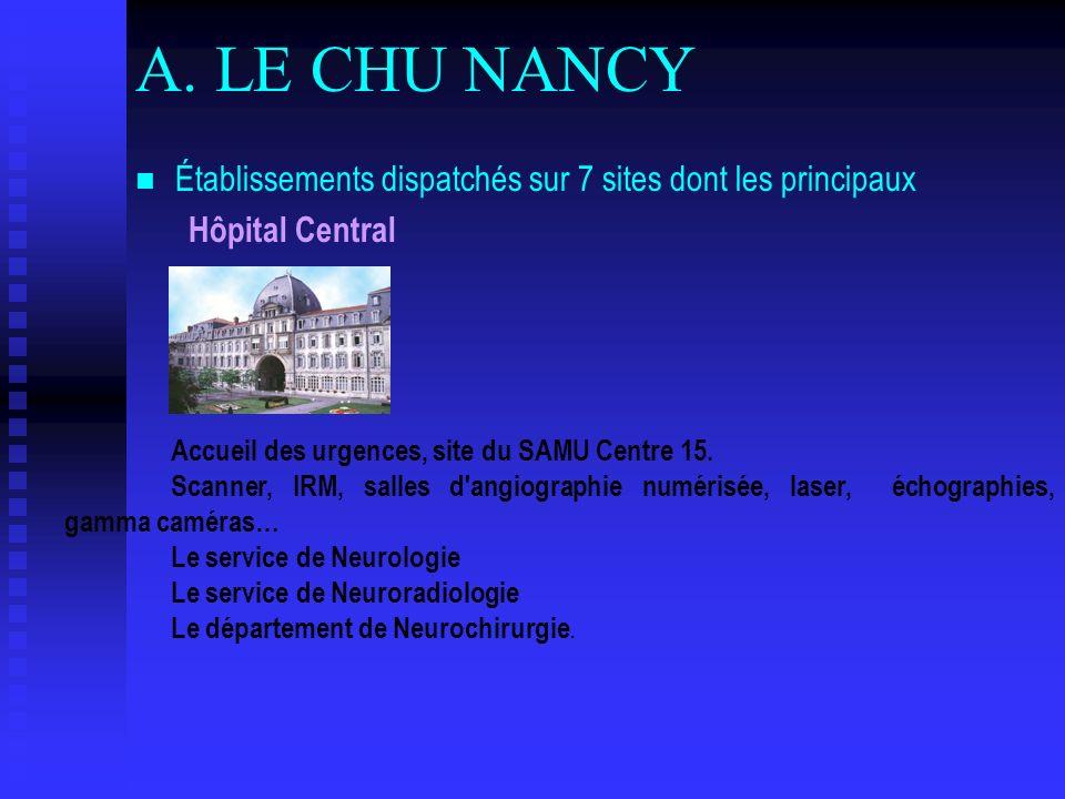 A. LE CHU NANCY Établissements dispatchés sur 7 sites dont les principaux. Hôpital Central. Accueil des urgences, site du SAMU Centre 15.