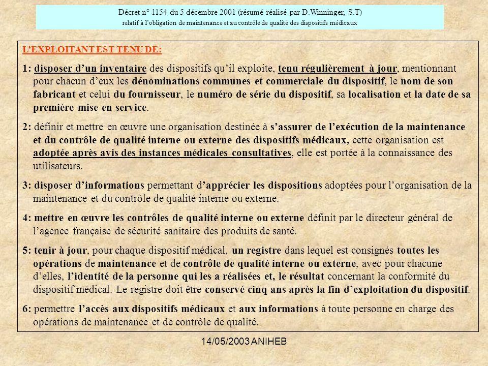 journée d ingénierie du 14/05/2003 ANIHEB