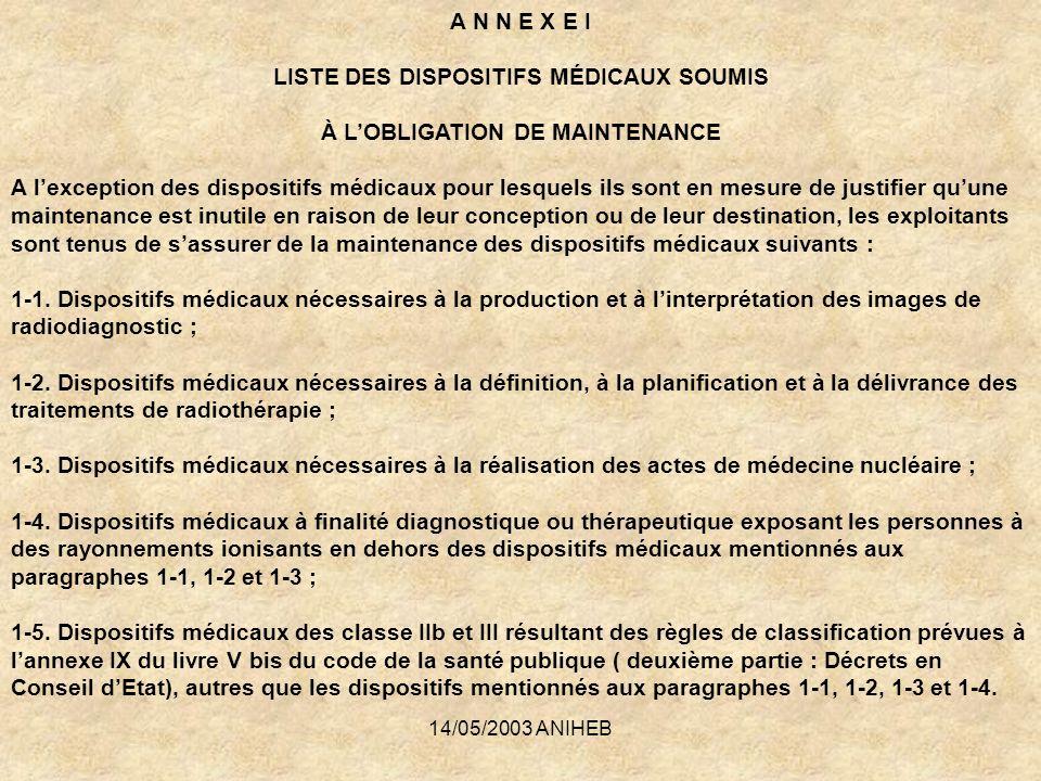 LISTE DES DISPOSITIFS MÉDICAUX SOUMIS À L'OBLIGATION DE MAINTENANCE