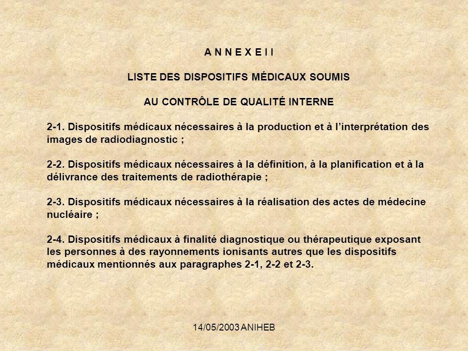 LISTE DES DISPOSITIFS MÉDICAUX SOUMIS AU CONTRÔLE DE QUALITÉ INTERNE