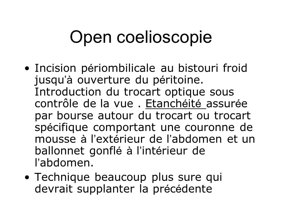 Open coelioscopie