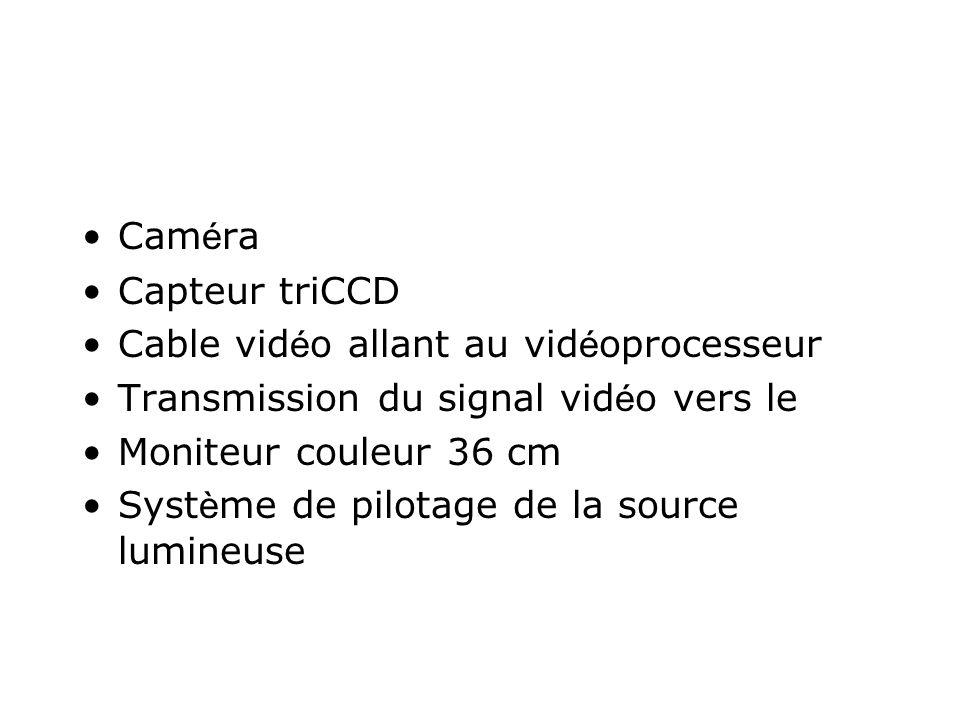 Caméra Capteur triCCD. Cable vidéo allant au vidéoprocesseur. Transmission du signal vidéo vers le.