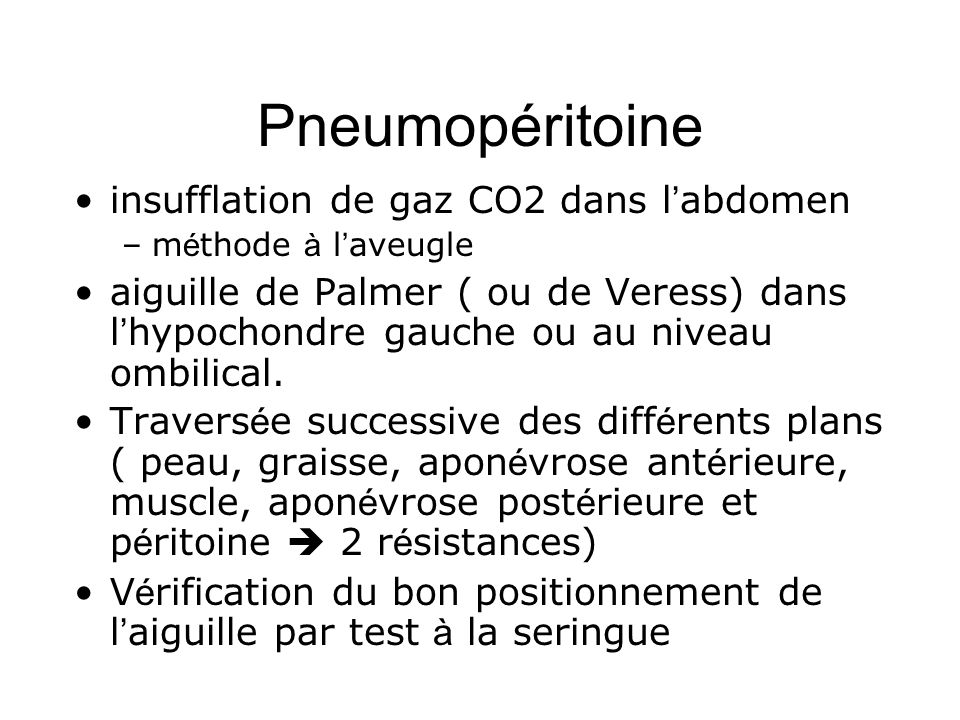 Pneumopéritoine insufflation de gaz CO2 dans l'abdomen