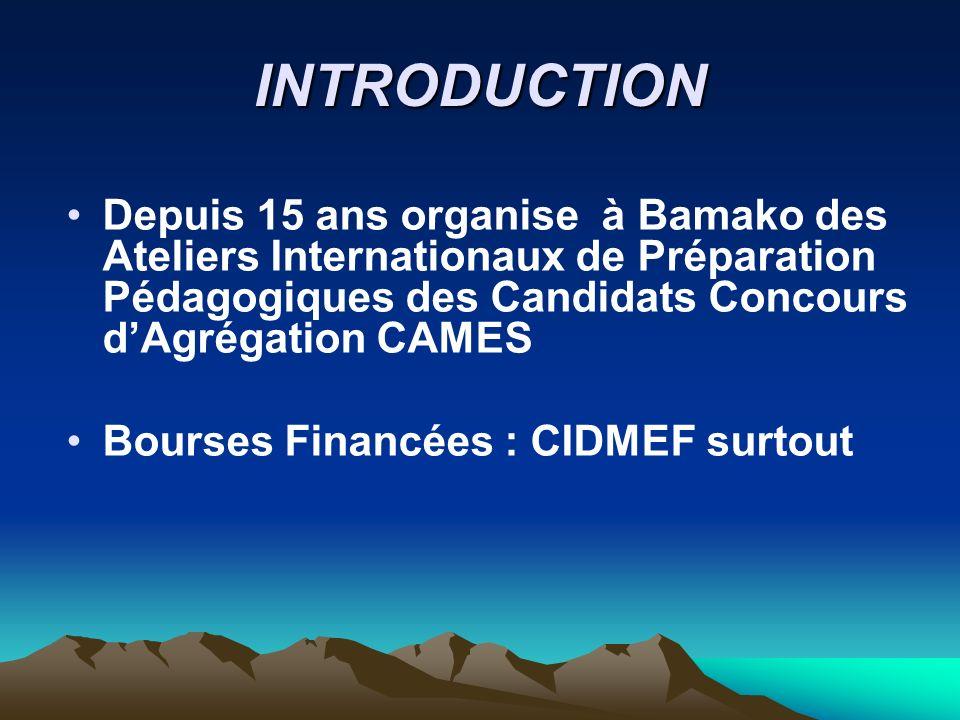 INTRODUCTIONDepuis 15 ans organise à Bamako des Ateliers Internationaux de Préparation Pédagogiques des Candidats Concours d'Agrégation CAMES.