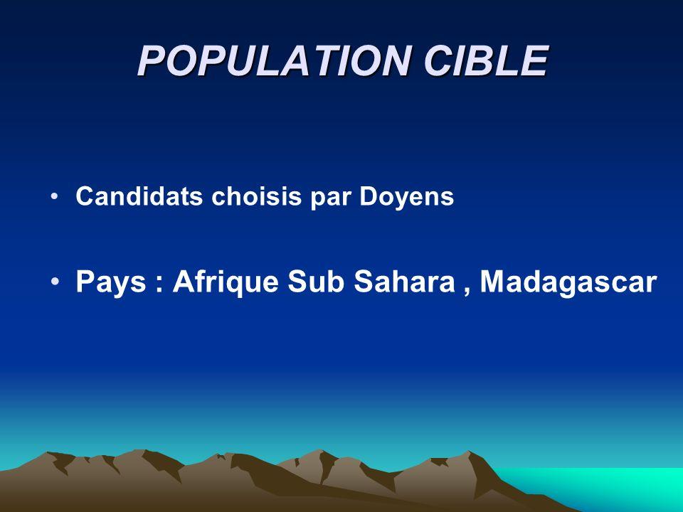 POPULATION CIBLE Pays : Afrique Sub Sahara , Madagascar