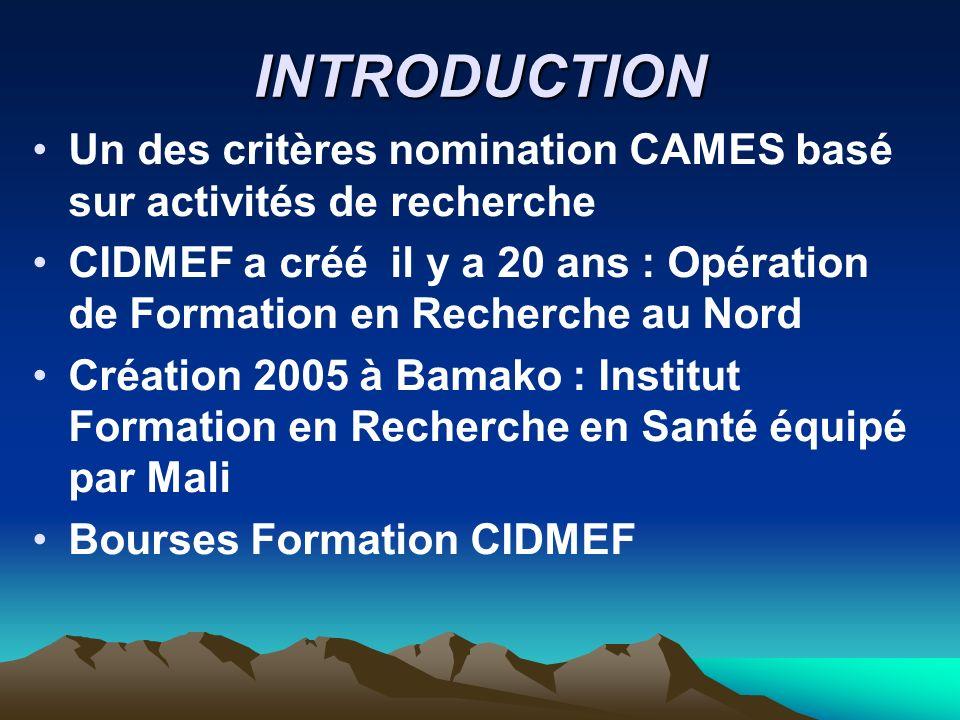 INTRODUCTIONUn des critères nomination CAMES basé sur activités de recherche.