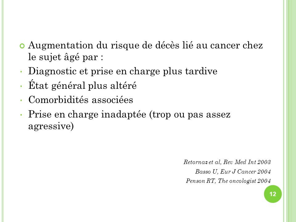 Augmentation du risque de décès lié au cancer chez le sujet âgé par :