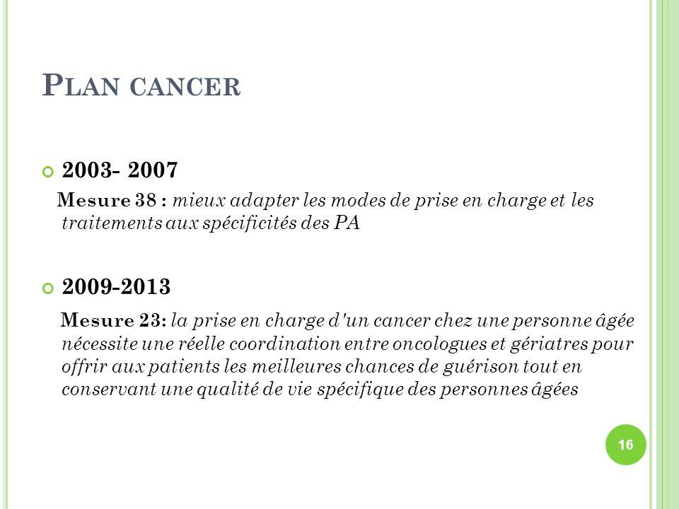 Plan cancer2003- 2007. Mesure 38 : mieux adapter les modes de prise en charge et les traitements aux spécificités des PA.
