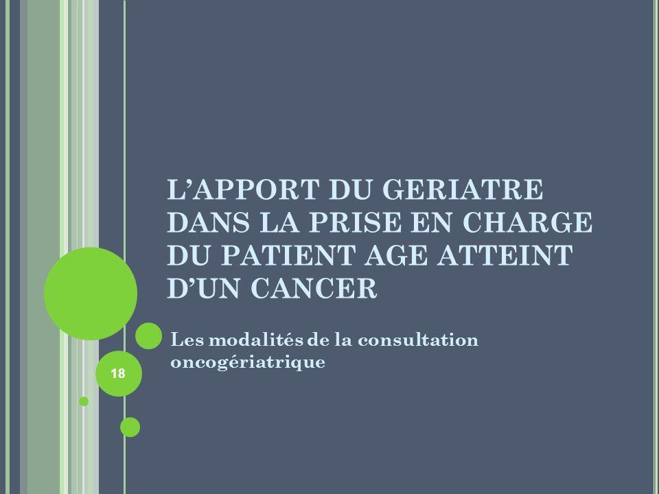 L'APPORT DU GERIATRE DANS LA PRISE EN CHARGE DU PATIENT AGE ATTEINT D'UN CANCER