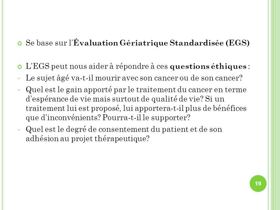 Se base sur l'Évaluation Gériatrique Standardisée (EGS)