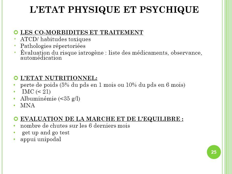 L'ETAT PHYSIQUE ET PSYCHIQUE