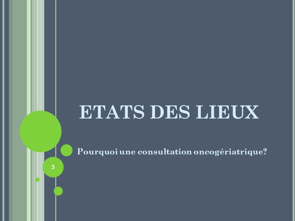 ETATS DES LIEUX Pourquoi une consultation oncogériatrique