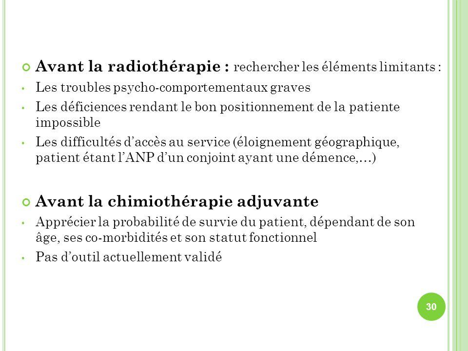 Avant la radiothérapie : rechercher les éléments limitants :