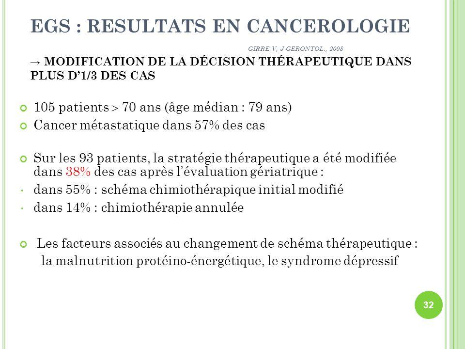 EGS : RESULTATS EN CANCEROLOGIE GIRRE V, J GERONTOL