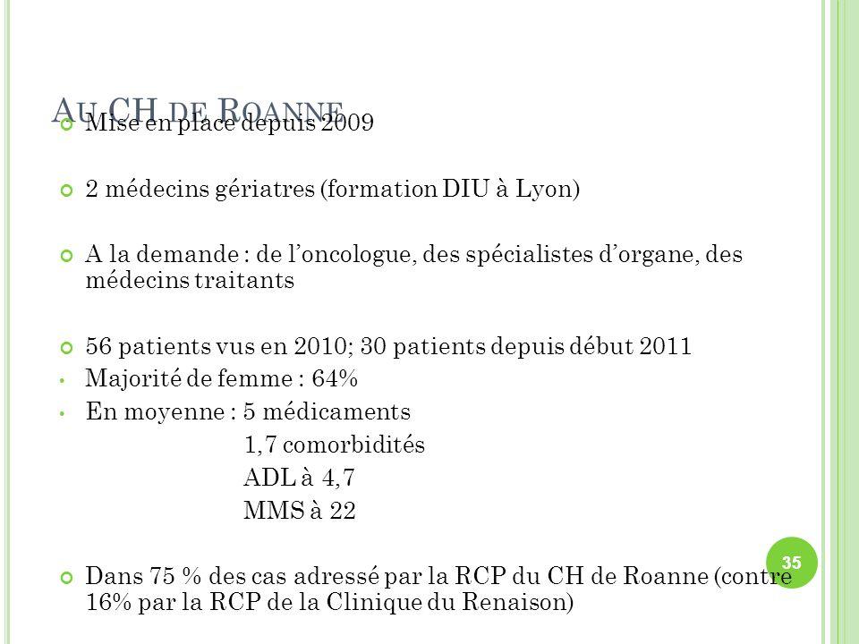 Au CH de Roanne Mise en place depuis 2009