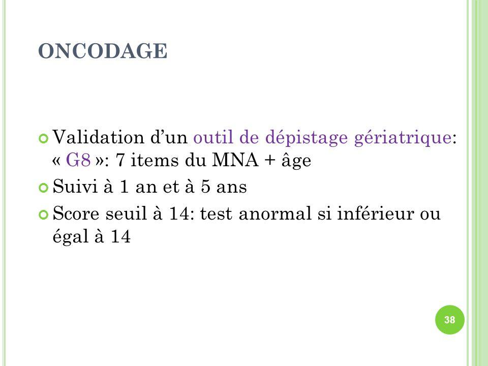 ONCODAGE Validation d'un outil de dépistage gériatrique: « G8 »: 7 items du MNA + âge. Suivi à 1 an et à 5 ans.