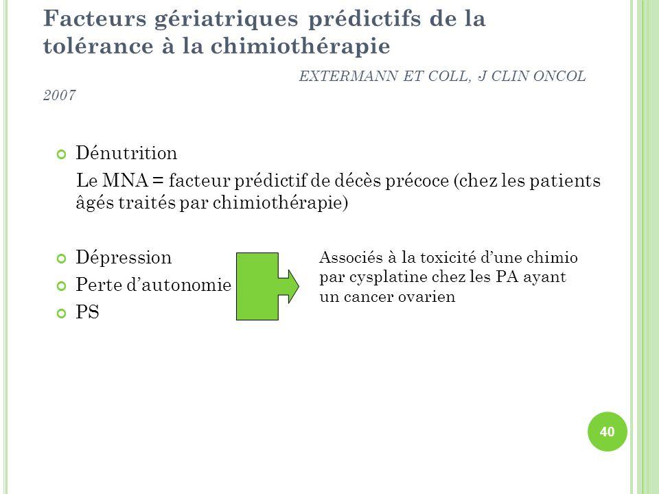 Facteurs gériatriques prédictifs de la tolérance à la chimiothérapie EXTERMANN ET COLL, J CLIN ONCOL 2007