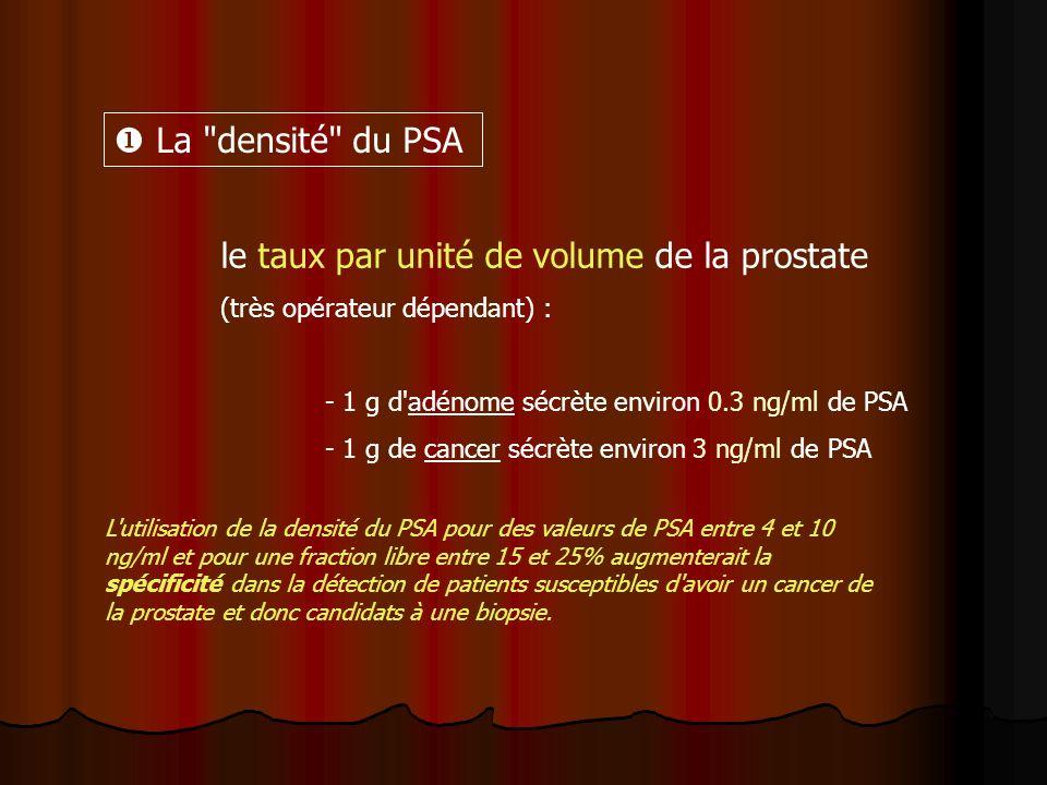 le taux par unité de volume de la prostate