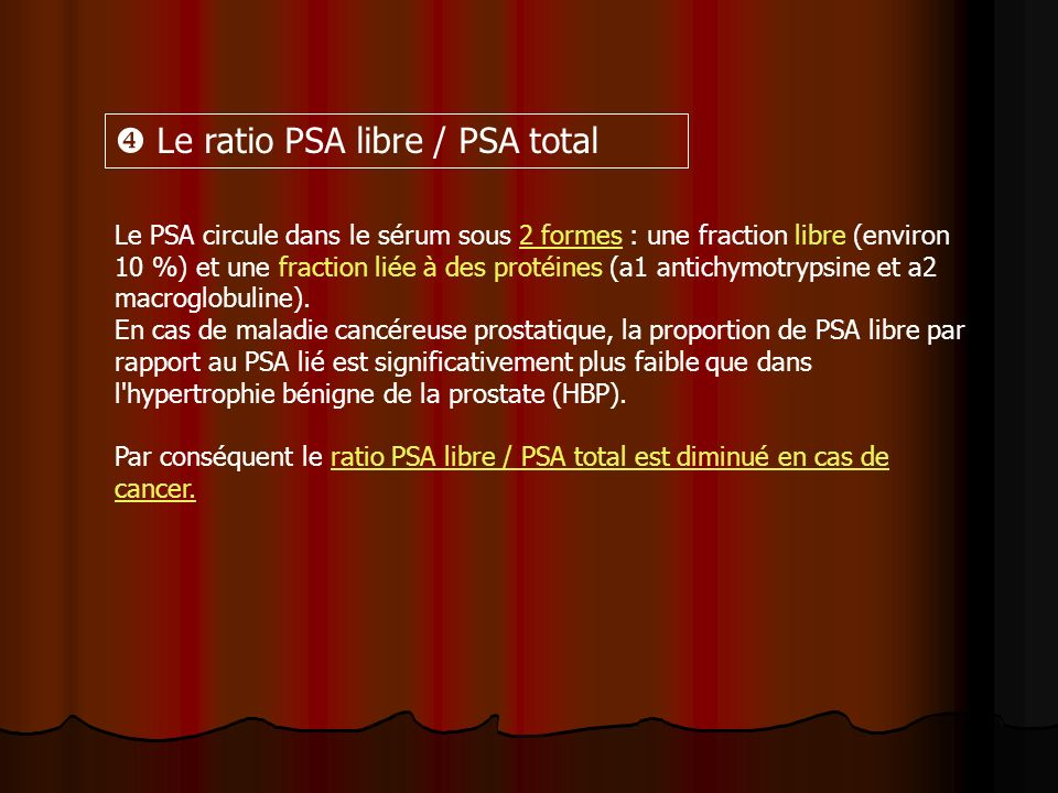  Le ratio PSA libre / PSA total